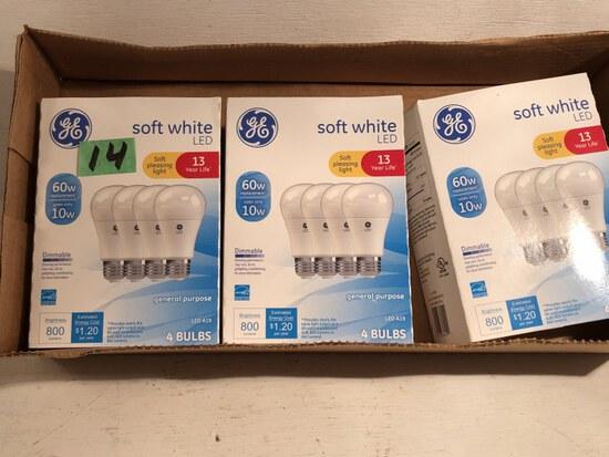 3 packs of GE 60 Watt LED Light Bulbs NIB