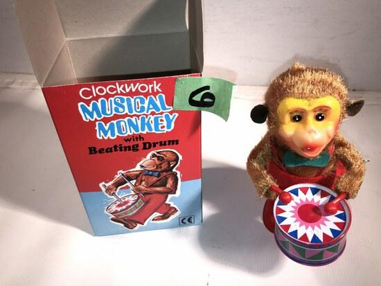 Vtg Beating Drum Monkey w/Box
