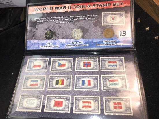 WWII coin & stamp set