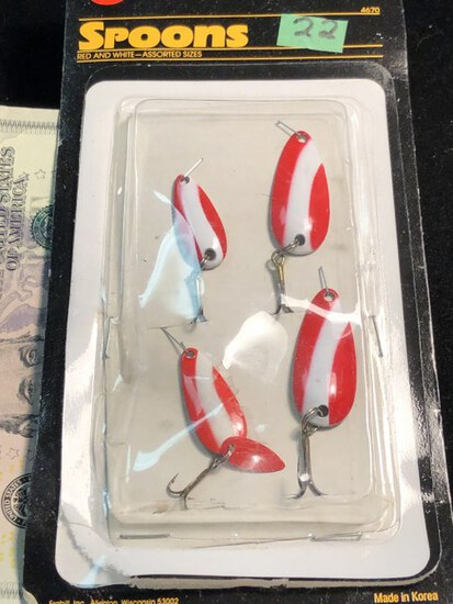 Red & White Spoons Fishing Lures