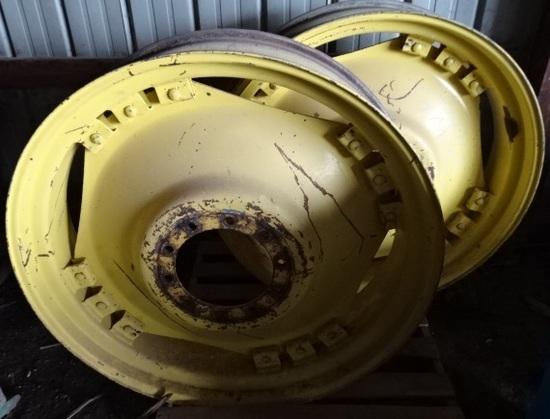 PR. 14.9X46 JD RIMS, FIT 8100 SERIES, 1 HAS CRACK REPAIRED