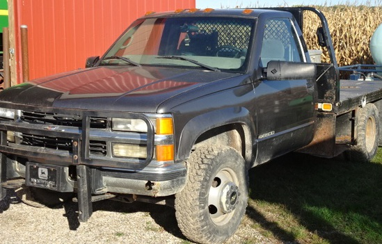 2000 CHEVY 3500 LS 4X4 DUALLY STAKE TRUCK