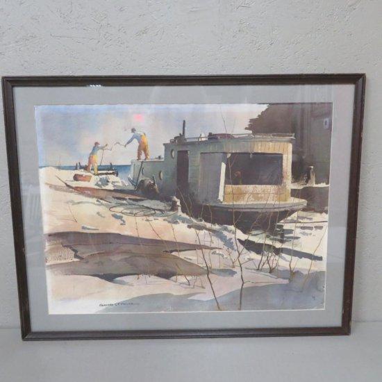 Gerhard CF Miller Fishing boat watercolor print