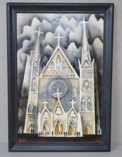 1965 Raine oil on board Cathedral