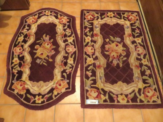 Two Wool contour sculptured scatter rugs