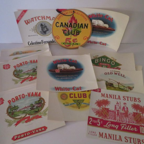 Cigar box cover labels and advertising sign