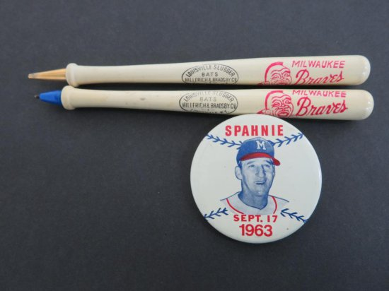 Milwaukee Braves pens and Spahnie Pin 1963
