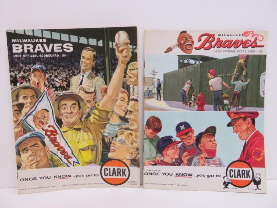1959 and 1960 Milwaukee Braves Official Scorecards