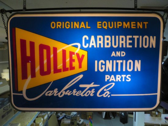 RARE Holley Carburetion and Ignition two sided Lighted sign