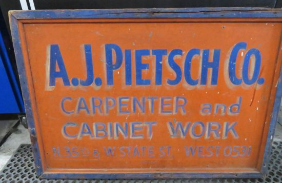 Metal Advertising Sign Carpentry and Cabinets
