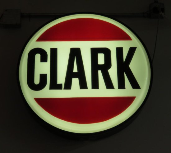 Large Clark round lighted sign