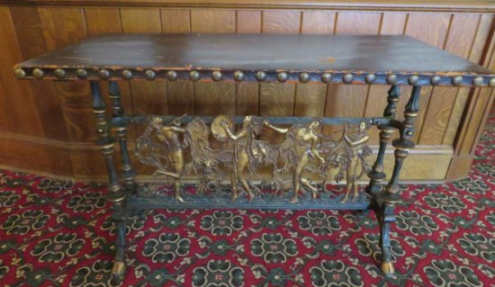 Outstanding Ornate metal table with dancing musicians
