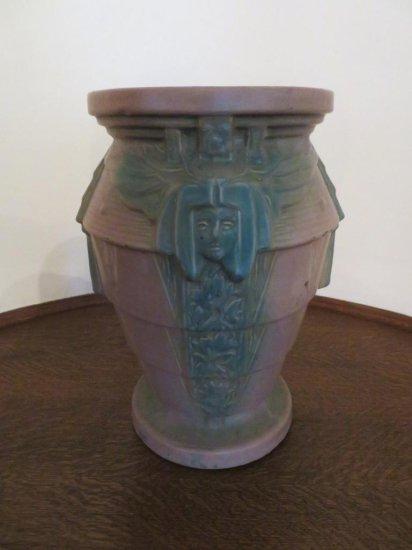 McCoy Art pottery Sphinx Egyptian Sand Jar, unusual mauve color