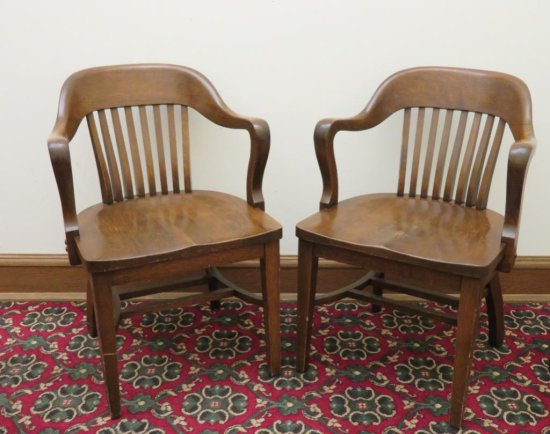 Two Oak Klode wood jury bankers chairs