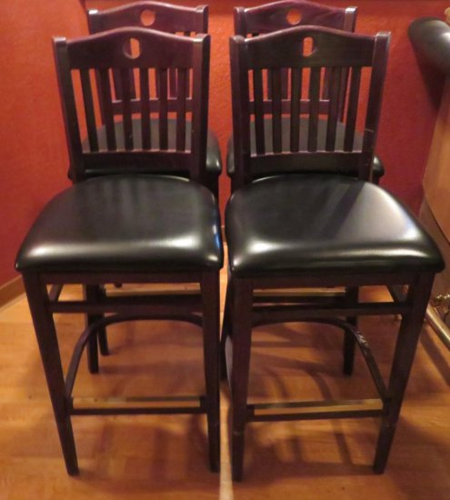 Four Slat back padded seat bar stools