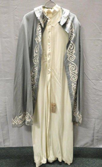 Blue cloak and white robe