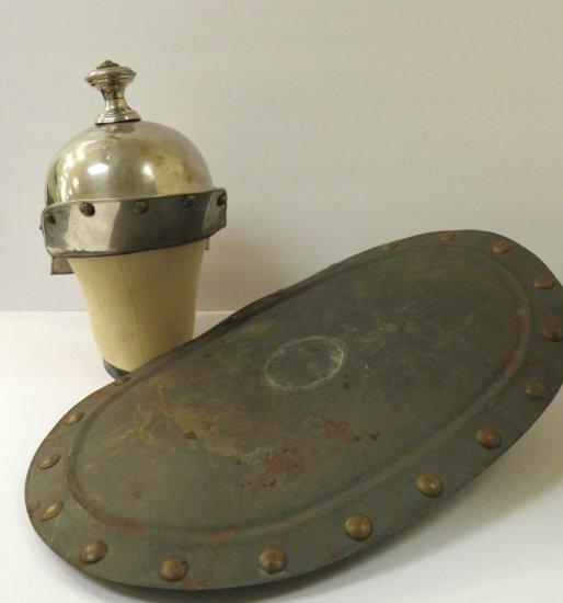 Masonic Scottish Rite Regalia metal helmet and shield