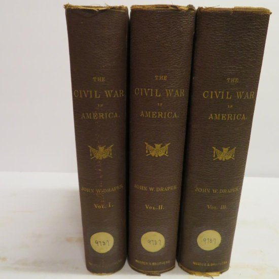 1870 Civil War in America by John W Draper Three Volumes