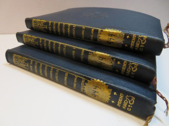 Leather bound French Revolution History by Thomas Carlyle , Vol 1-3