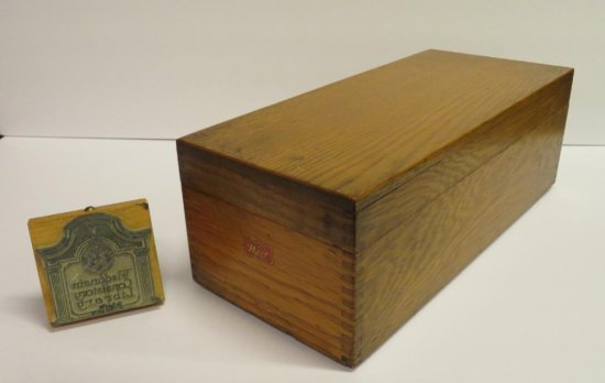 Wooden Card File box and Wisconsin Consistory Library Stamp