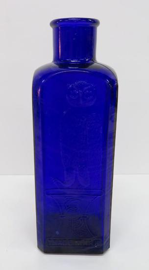 Cobalt Blue Owl Drug Company square bottle, 9 1/2""