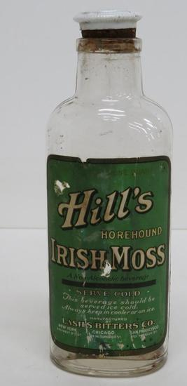 Hill's Horehound Irish Moss Lash's Bitters with original label and porcelain stopper