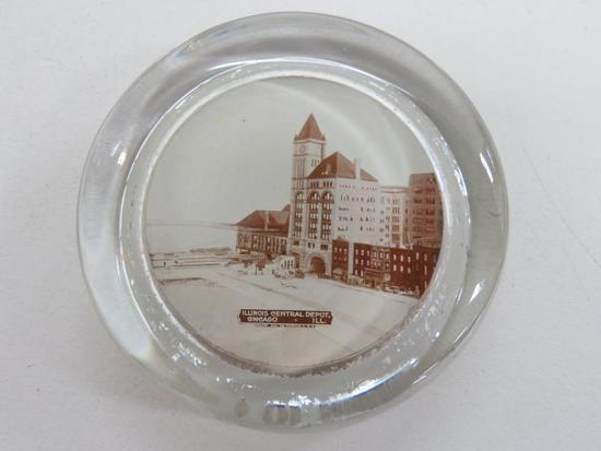 Illinois Central Depot, Chicago Ill, paperweight, 3""