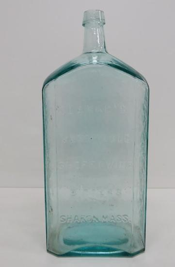 Clarke's Vegetable Sherry Wine Bitters Bottle, aqua, Sharon Mass