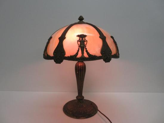 Slag Glass Table Lamp with metal urn overlay, base marked