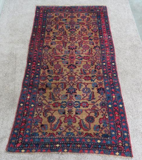 "Antique Kurdish Persian Rug, Wool Foundation, 3'4"" x 6' 4"""