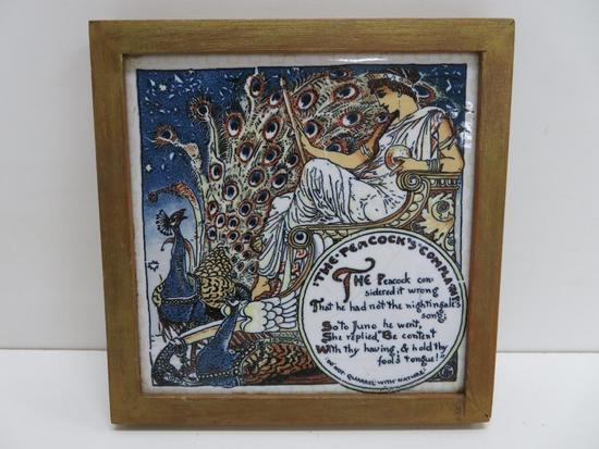 """Aetco, Faience Art Tile, woman and peacock, framed 7"""""""