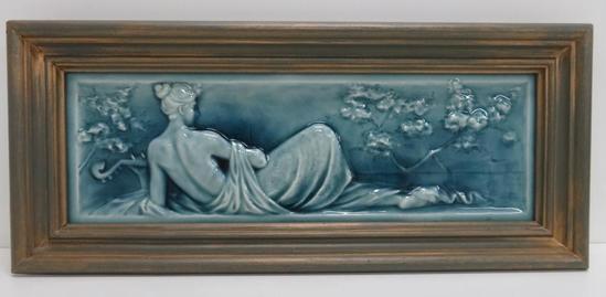 "American Encaustic Tile Co. Reclining Nude Art Tile, framed 20 1/2"","