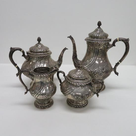 Ornate Devonshire Hand Chased Sterling Silver Coffee Tea Service, four pieces