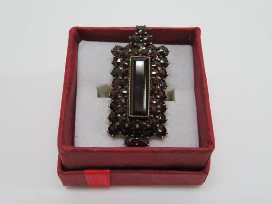 Garnet ring, marked Germany, size estimate 6 1/2