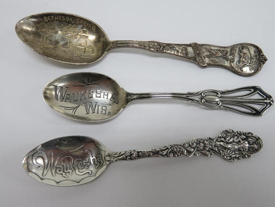 3 Ornate Sterling Silver Waukesha Spoons