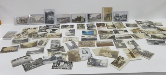 Postcards, black and white & real photo, about 100 cards