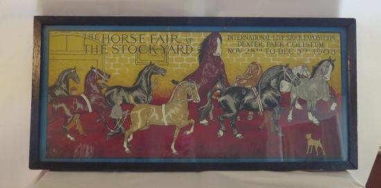 "1903 Fabulous Horse Fair at the Stockyard Print, framed 27 3/4"" x 13"""