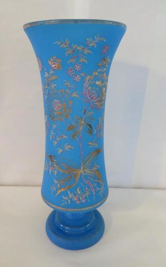 Art glass handpainted vase, Bristol glass, 12 3/4""