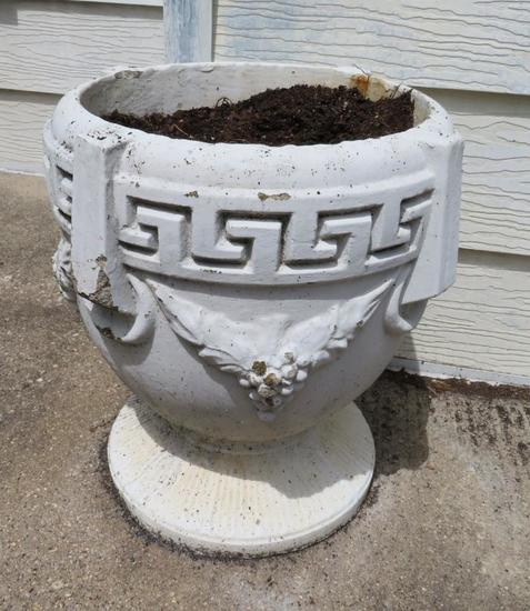 "Cement patio planter, 17 1/2"" tall"