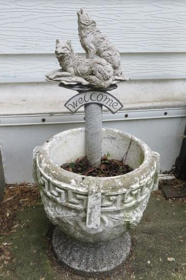 "Cement patio planter, 17 1/2"" tall, with wolf planter stake"