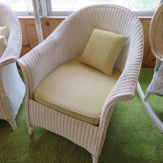 White Rolled side wicker side chair with cushion and pillow