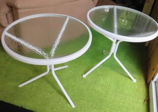 Two glass top patio side tables, 19""