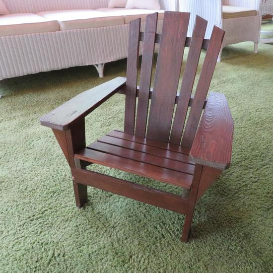 "Child's wooden adirondak chair, 26"" tall"