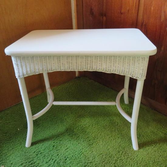 White Wicker side table with wooden top