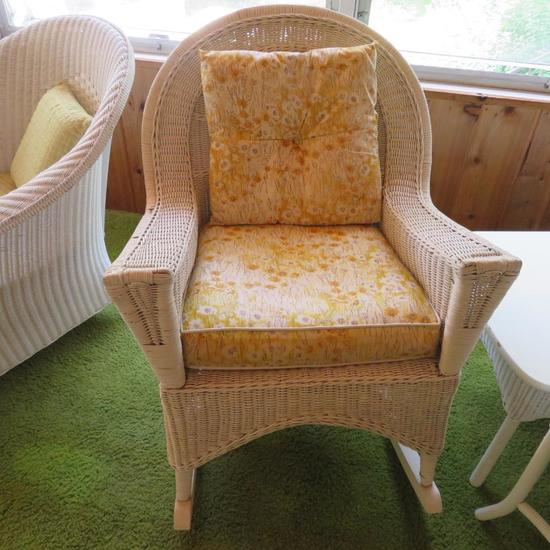 White Wicker rocking chair with cushion and pillow