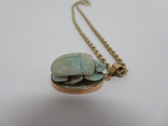 Vintage Scarab pendant necklace