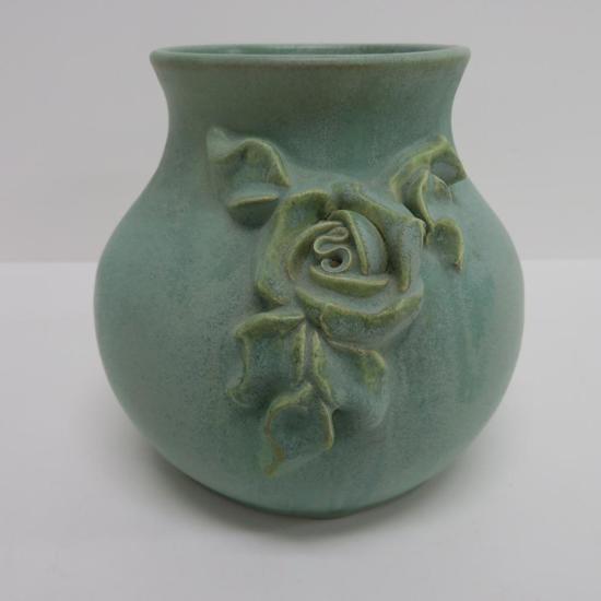 "Fulper Vase, applied rose, green, 6"""