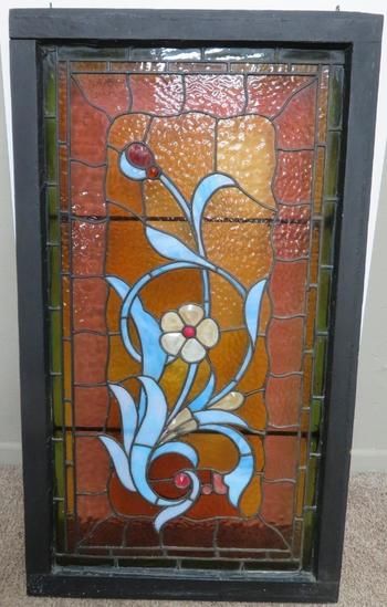Lovely jeweled floral stained and leaded glass window