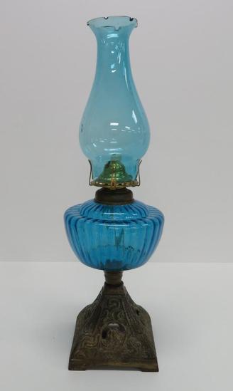 Vintage Oil lamp, blue with Noveau style base