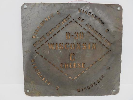 """Vintage Wisconsin Cheese metal sign, 15"""""""
